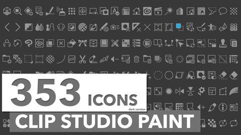 353 Icons Clip Studio Paint Dark Theme