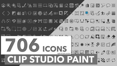 706 Icons Clip Studio Paint Dark and Light Theme