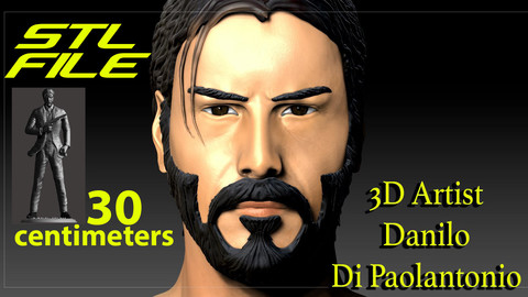JOHN WICK 3D MODEL STL FILE KEANU REEVES WITH GUN NEW OFFER SALES by 3D Artist for 3d printers fdm sla and others