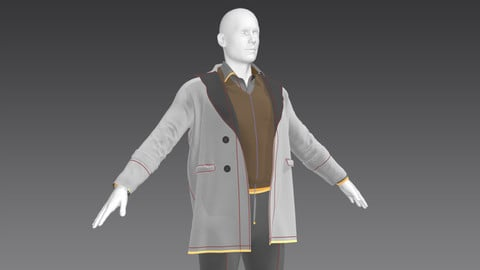 men's coat ,sweater Marvelous Designer, project files