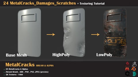 24 MetalCracks_Damages_Scratches+Texturing Tutorial