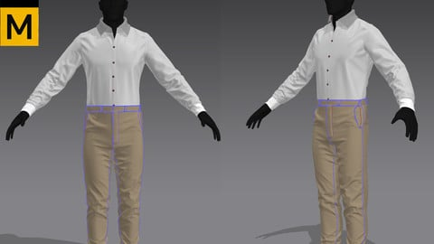 Shirt Khaki pants Marvelous Designer Zprj