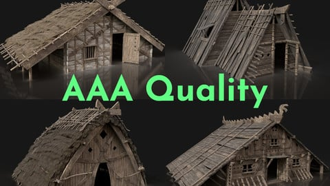 AAA NEXT-GEN VIKING MEDIEVAL NORSEMAN VILLAGE BUILDING PACK 3D Model Collection