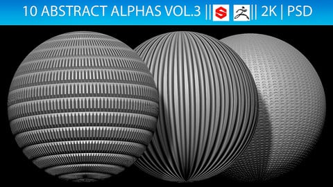 10 Abstract Alphas Vol.3 (ZBrush, Substance, 2K, PSD)