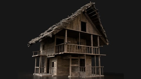 NextGen FANTASY MEDIEVAL WOODEN VIKING HOUSE HUT CABIN COTTAGE VR