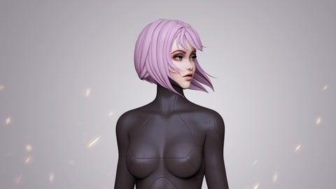Highpoly Android Girl bust
