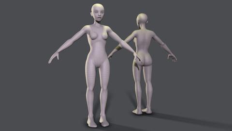 Stylised Female Basemesh - Game Ready With UVs