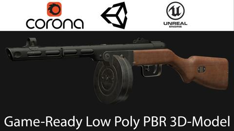 Soviet submashine gun PPSh41 Low-poly 3D-model