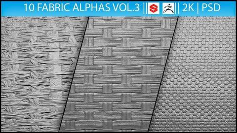 10 Fabric Alphas Vol.3 (ZBrush, Substance, 2K)