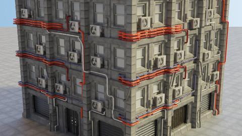 Cyberpunk Piped Building (FBX,Blend)