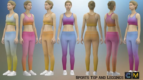 Sports Top and Leggings,Marvelous designer, Clo3d