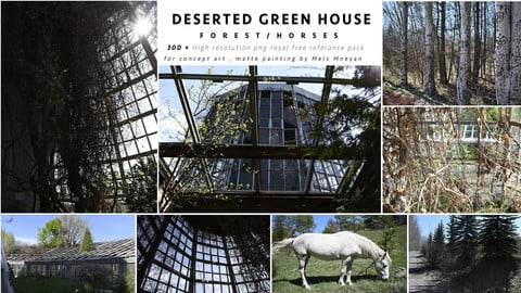 Deserted Green House /forest / Horses reference pack