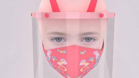 Medical face shield and mask for kids 3D model