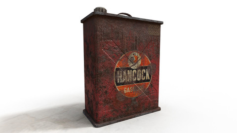Old Worn Gasoline Motor Oil Can Low-poly PBR