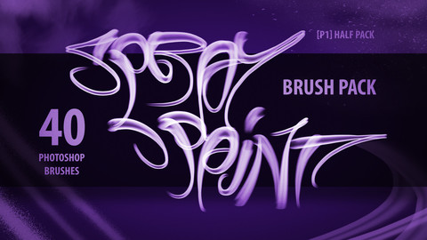 [P1] Half Spray Paint Brush Pack - Photoshop (40 Brushes)