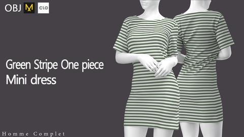 Women's Green Stripe One piece