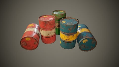 3 Colors Worn Barrels Lowpoly- PBR (Game)