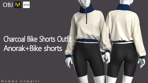 Women's Charcoal Bike Shorts Outfit