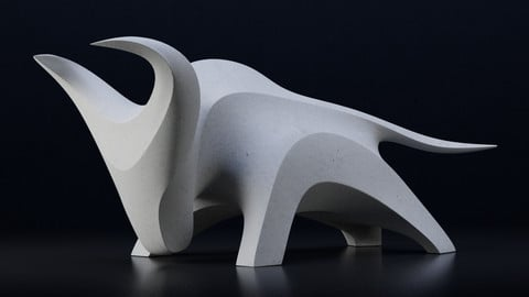 Modern abstract bull sculpture
