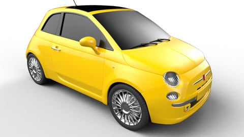 Fiat 500 low poly FBX, PBR textures, game ready