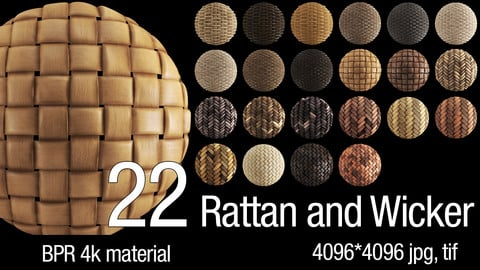 22 PBR Rattan and Wicker 4K Material