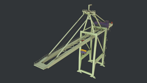 PBR Quayside Container Crane Version 1 - Green Light