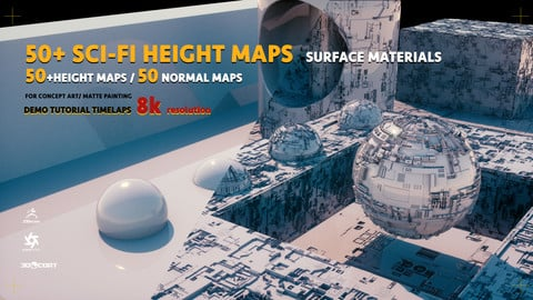 50+ SCI-FI HEIGHT maps / 50 NORMAL maps - SURFACE MATERIALS| 8k res | octane source file | TUTORIAL |