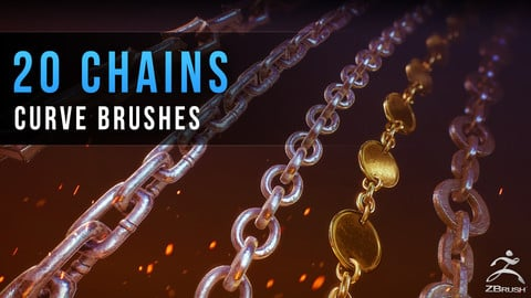 Chains - 20 IMM Curve Brushed for Zbrush