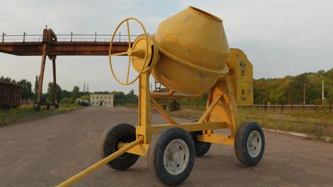 Concrete mixer lowpoly 3d model