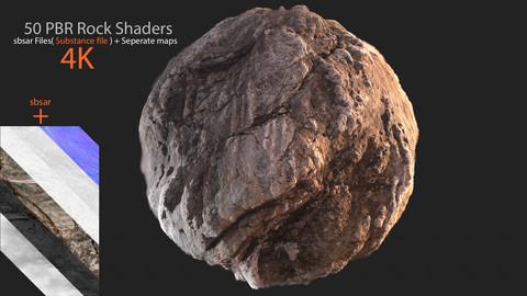 50 PBR Rock Materials