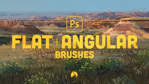 FLAT+ANGULAR Brushes - 26 Custom Brushes for Photoshop CC