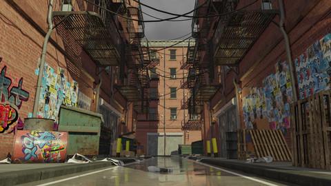New York Alleyway Assets (FBX, Blend)