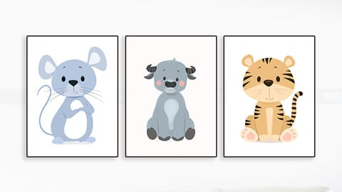 50+ Cute Nursery Animal Portraits