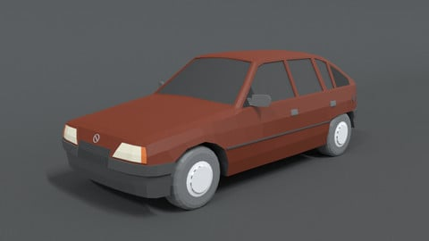 Low Poly Retro Cartoon Car