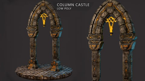 Column Castle - Low Poly - Ready to Game