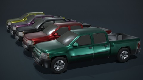 Pickup Truck Car Generic Lowpoly 3D Model