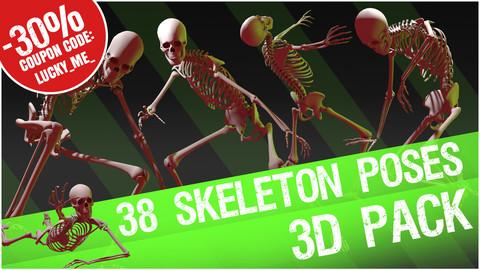 38 Skeleton Poses - 3D Pack 1