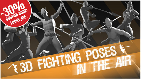 """3D Fighting Poses """"In The Air"""""""
