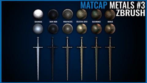 Metal Matcap Pack - Zbrush Matcaps 3