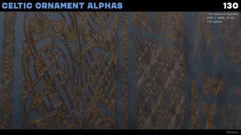 130 (+26 alphas of alphabet ) Celtic Alphas (Substance, Zbrush, PNG)