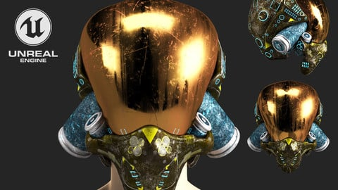 SCIFI HELMET 05 - 3D Asset Game Model PBR Mid-poly 3D Model