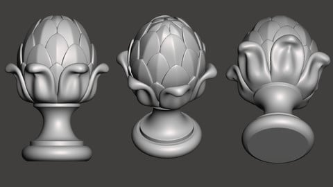 WoodCarving Finial - 3d model for CNC - FinialCFC01