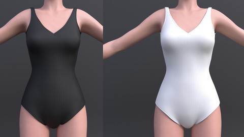 3d Female bikini - black and white colour swimsuit monokini