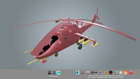 low poly Helicopter 3d model
