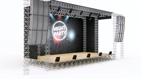 Concert scene Low-poly 3D model
