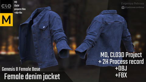 Female Denim Jacket. MD, Clo3d project + 2H Process Record
