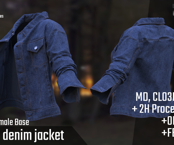 ArtStation - Female Denim Jacket. MD, Clo3d project + 2H Process Record | Resources