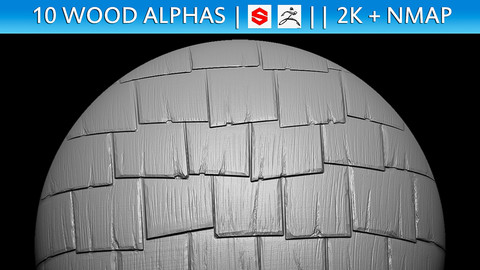 10 Wood Alphas Vol.1 (ZBrush, Substance, 2K + Normal map)