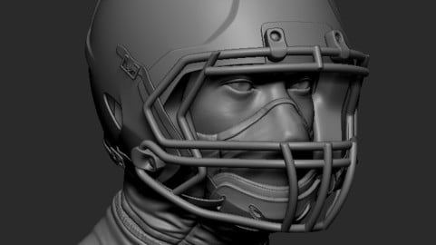 Football NFL gear Helmet 3D printable Zbrush file