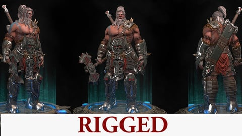 Barbarian Rigged Low-poly 3D game ready model